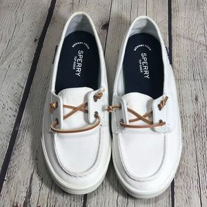 Sperry Lounge Away White Boat Shoe US9